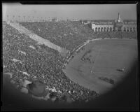 Partial image of the crowd during Notre Dame vs. USC game at Coliseum, Los Angeles, 1938