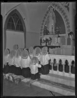 School children pray to Mary at the Cathedral of Saint Vibiana, Los Angeles, 1938