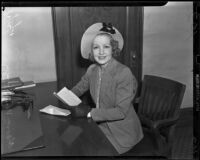Claire Windsor at the District Attorney's office, Los Angeles, 1938