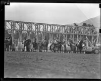 """Foolem,"" and jockey John Adams at the starting gate at Santa Anita Park, Arcadia, 1938"