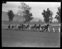 """Osculate,"" ""The Marker,"" ""Anahuac"" and ""Upper Berth"" rounding the far turn at Santa Anita Park, Arcadia, 1938"