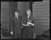 Newlyweds Sally Clark and George X. McLanahan prepare to go on their honeymoon, Los Angeles, 1938