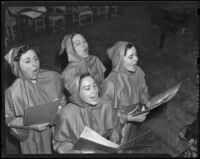 Florence Keck, Mrs. Frances Gabel, Mrs. William E. Cahl, and Isla Detter sing carols, Hollywood, 1938-1939