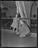 Mrs. Richard Harris and Lois Lyman at the Rollerdrome skating rink, Culver City, 1938