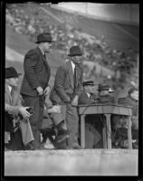 Ray Richards, Babe Horrell, and Westwood Will Spaulding on the sidelines, Los Angeles, 1938