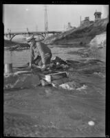 Antonio Chacon uses a sluice box to look for gold, Los Angeles, 1938