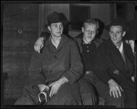 Foorball players Captain Jim McGoldrick, guard, Joe Beinor, tackle, and Bob Saggau, Los Angeles, 1938