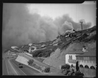 Fire burns in the Pacific Palisades, Los Angeles, 1938