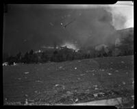 Fires destroy structures in Topanga Canyon, Los Angeles, 1938