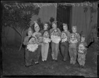 Several children dressed as the Seven Dwarves from Snow White, Los Angeles, 1938