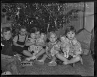 Children at the Bide-A-Wee Home celebrate Christmas, Los Angeles, 1938