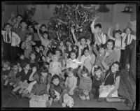 Children at St. Elizabeth's Day Nursery celebrate Christmas, Los Angeles, 1938