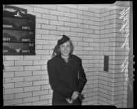 Natasha Gorin visits her husband in jail, Los Angeles, 1938
