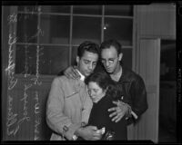 William Spinelli Jr., Joseph Spinelli, and Helen Angiuli embrace, Los Angeles, 1938