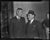 Dwight Baker at zoning bribery trial with his attorney J. Edwin Simpson, Los Angeles, 1938