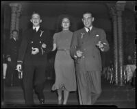 Ensign Clifton Enslfeeniker, Judith Wise, and Jack W. Hardey, Los Angeles, 1938