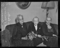 Anna Bevan, Sarah J. Barber, and Emma C. Eaton enjoy their retirement, Eagle Rock, 1938