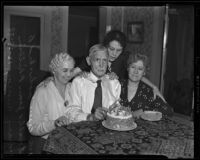 Anthony Lovell celebrates 100th birthday with daughters Bessie Spohr, Jean Philbin, and Mary Murray, Los Angeles, 1938
