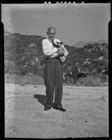 Mr. Fred Anthony Lovell, centenarian, with his dog, Los Angeles, 1938