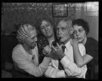 Fred Anthony Lovell celebrates his 100th birthday with his 3 daughters at his Tujunga Canyon cabin, Los Angeles, 1938
