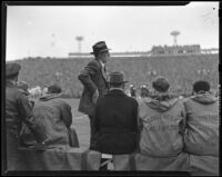 U.S.C. Trojans coach Howard Jones at Rose Bowl game against Duke, Pasadena, 1939