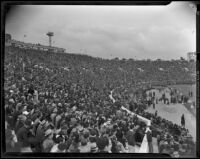 93,000 fans gather to watch U.S.C. Trojans play against Duke Blue Devils at the Rose Bowl, Pasadena, 1939
