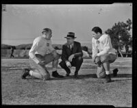 Dan Hill and Eric Tipton of the Duke Blue Devils with Coach Wallace Wade, Pasadena, 1938