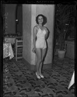 "Iris Waltrip ""Queen of Hollywood"", posing in a bathing suit, 1938"