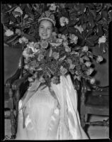 Rose Queen Barbara Dougall the day before her coronation, Pasadena, 1938
