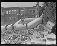 Van Nuys High School columns after demolition, 1934