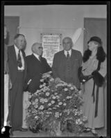 Gymnasium dedication attended by E. J. Milne, Dr. J. M. Toner, Governor Frank Merriam, and Mrs. Oliver C. Bryant, Whittier, 1934