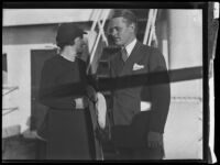 Alvin P. Adams, president of Western Air Express, and a woman, probably his wife Elizabeth Adams, between 1934-1940 (?)