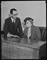 Vilma Aknay and attorney Harry F. Sewell in court, Los Angeles, between 1934-1935