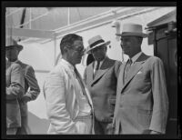 Collector of Customs Cohn and Eloi Amar welcome George Henry Dern, San Pedro, 1934