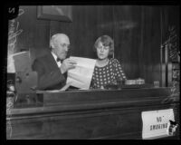 Judge Thomas L. Ambrose instructs his niece Marjorie McGee, Los Angeles County, 1927