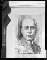 Portrait drawing of Roald Amundsen, 1927