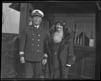 Captain Fred Anderson and his wife on the deck of the Diana Dollar, San Pedro, 1923
