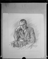 A drawing of Russian chess champion Alexander Alekhine, Pasadena, 1932