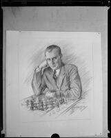 A drawing of Russian chess champion Alexander Alekhine, Pasadena, 1932
