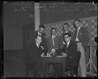 Alexander Alekhine, Isaac Kashdan, J. J. Araiza, Samuel Reshevsky, Harry Borochow, and Arthur W. Dake gather for World Chess Congress, Pasadena, 1932
