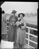 Suzette Alger and friend at the Santa Anita race track, 1930s