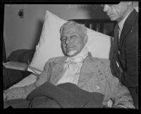 Crombie Allen wounded in bandit shooting, Los Angeles, 1933