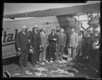 W.R. Angell and city officials pose with pilot, Rogers Airport, Los Angeles, 1927