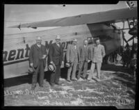 W. R. Angell and city officials at plane show, Rogers Airport, Los Angeles, 1927