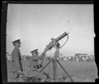 U.S. Army officials demonstrate anti-aircraft rifle at Fort MacArthur, San Pedro, 1930s