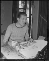 Peter Arno seated at a table illustrating a cartoon, 1927-1939