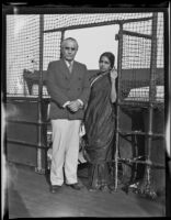 Rev. George Sydney Arundale and his wife Rukmini as they prepare to set sail to return to Australia, Long Beach, 1933