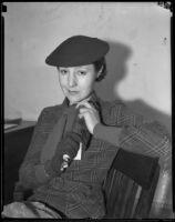 Iris Ashton testifies in manslaughter case, Los Angeles, 1935