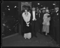 Russ and May Avery arrive at annual Lincoln Club dinner, Los Angeles, 1933