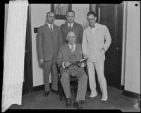 Senator Joseph Pedrotti, Assemblymen George W. Rochester and Clare Woolwine, and Sen. P.J. Gray, California, circa 1929